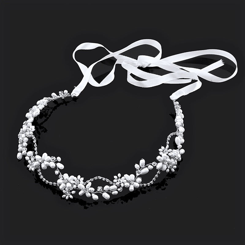 """Karen"" - Silver Pearl and Crystal Bridal Headband"