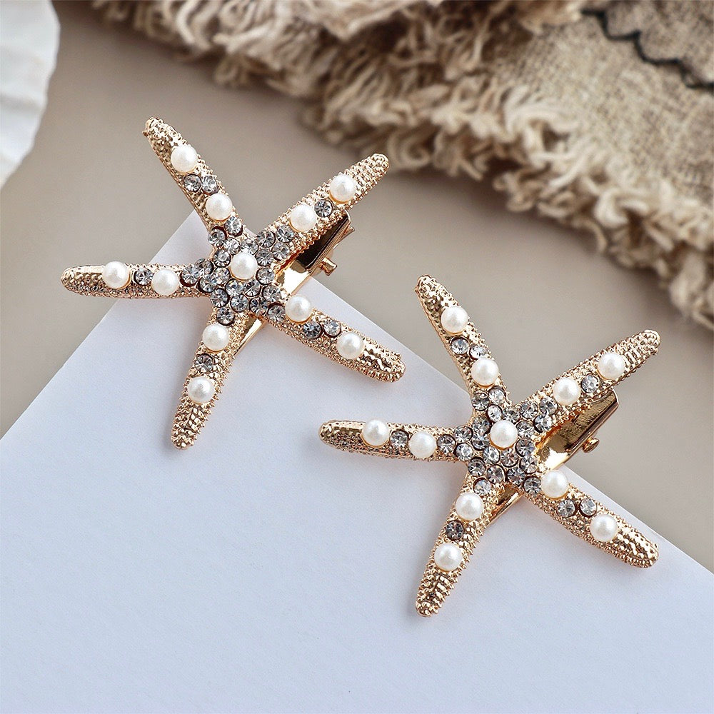 Wedding Hair Accessories - Gold Starfish Bridal Hair Clip