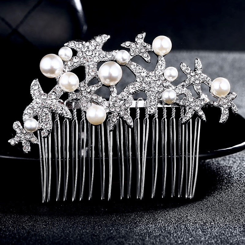 Wedding Hair Accessories - Pearl and Crystal Sea Star Bridal Hair Comb