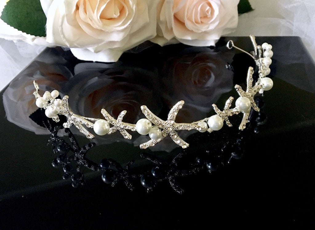 Wedding Hair Accessories - Pearl and Crystal Sea Star Bridal Headband