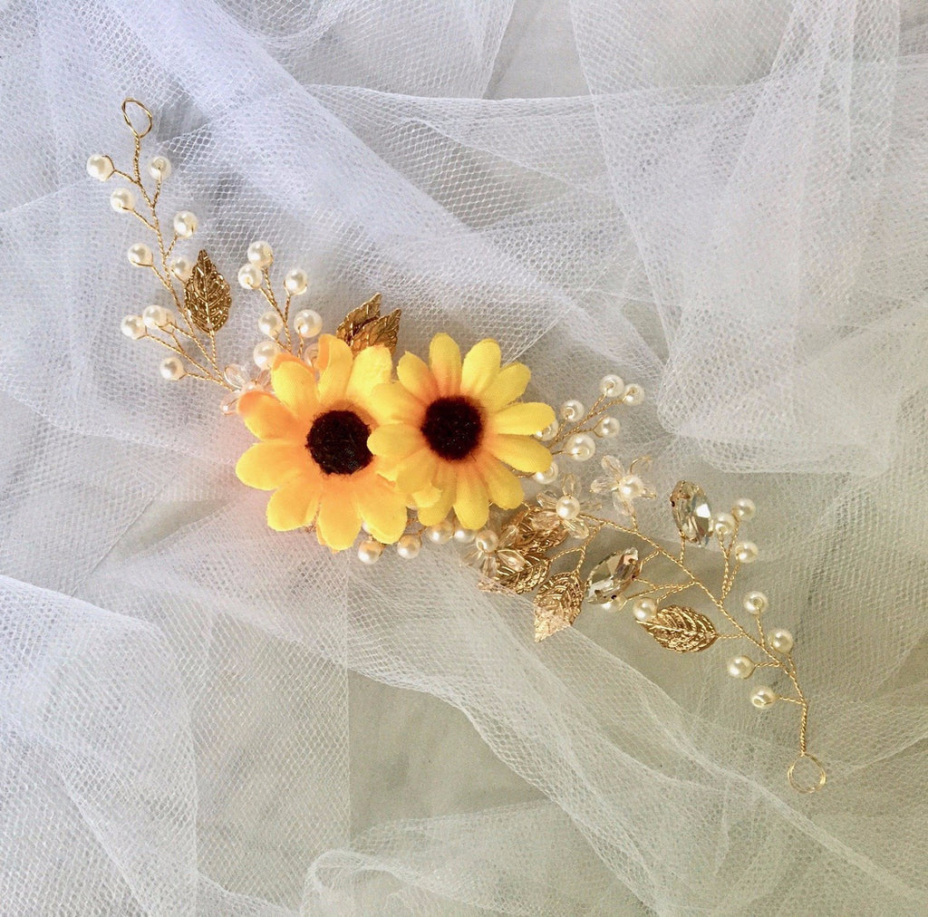 Wedding Hair Accessories - Sunflower Bridal Headband / Vine - Available in Gold and Silver