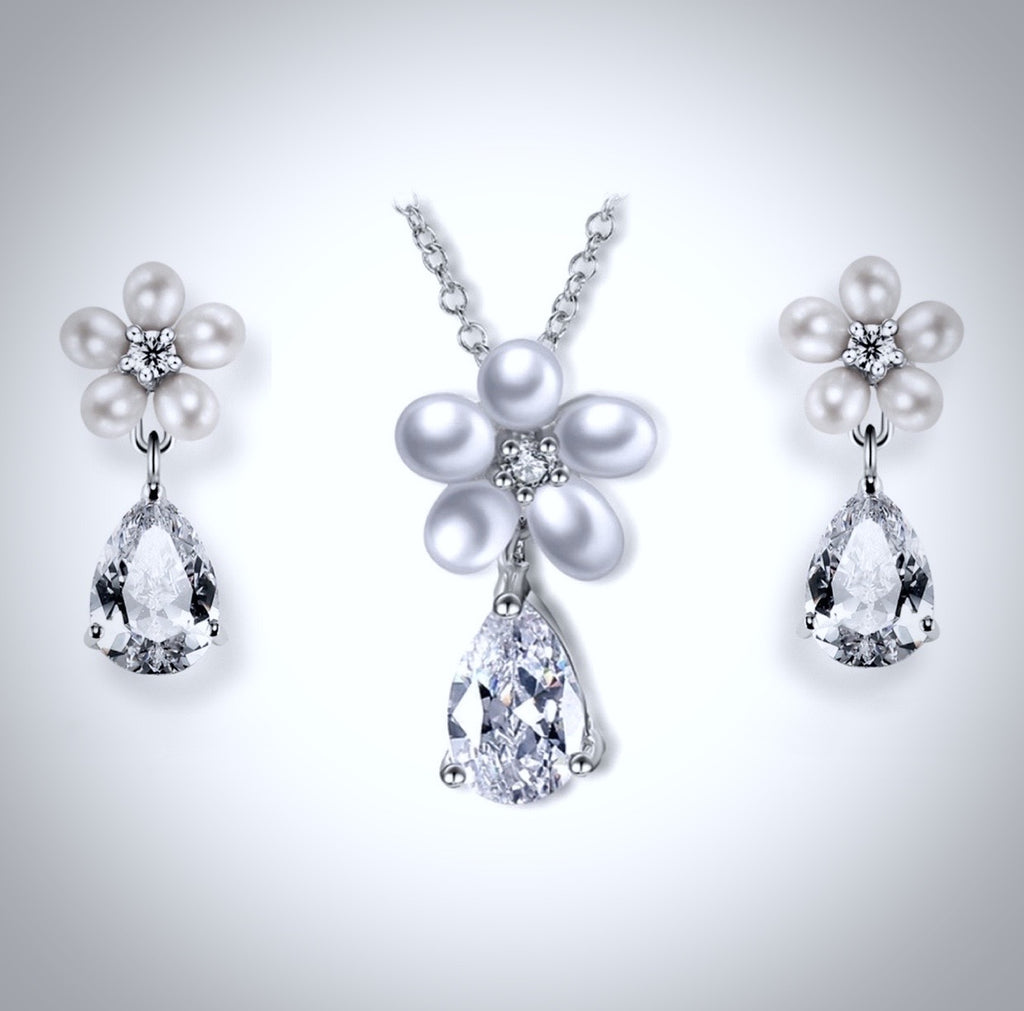 """Beverly"" - Pearl and Cubic Zirconia Bridal Necklace and Earrings Set"