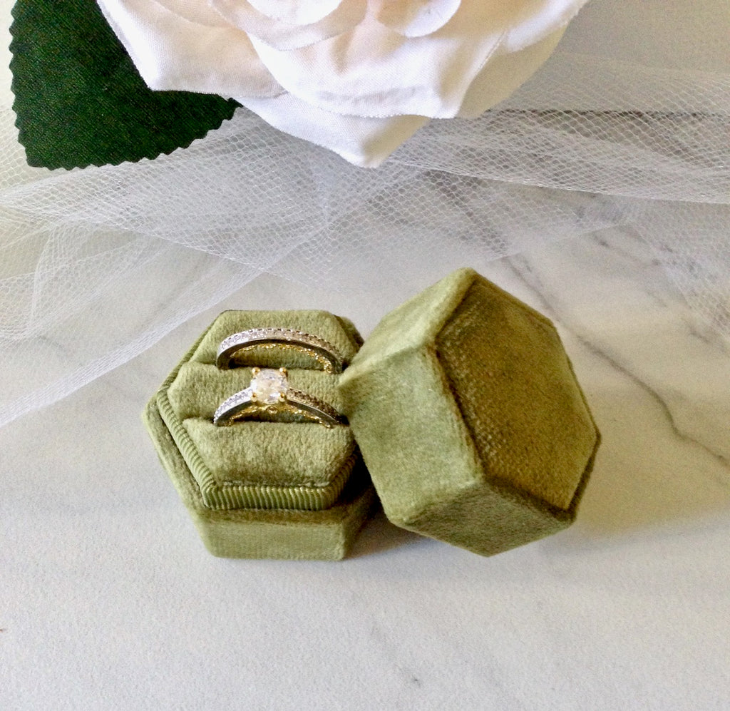 Wedding Accessories - Velvet Heirloom Hexagon Ring Box - More Colors Available