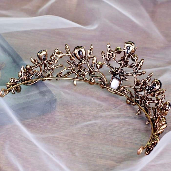 Wedding Hair Accessories - Victorian Gothic Green Bridal Tiara
