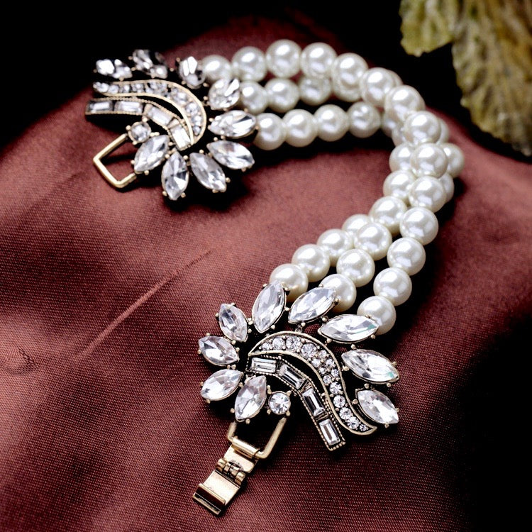 Wedding Pearl Jewelry - Vintage Pearl and Rhinestone Bridal Bracelet