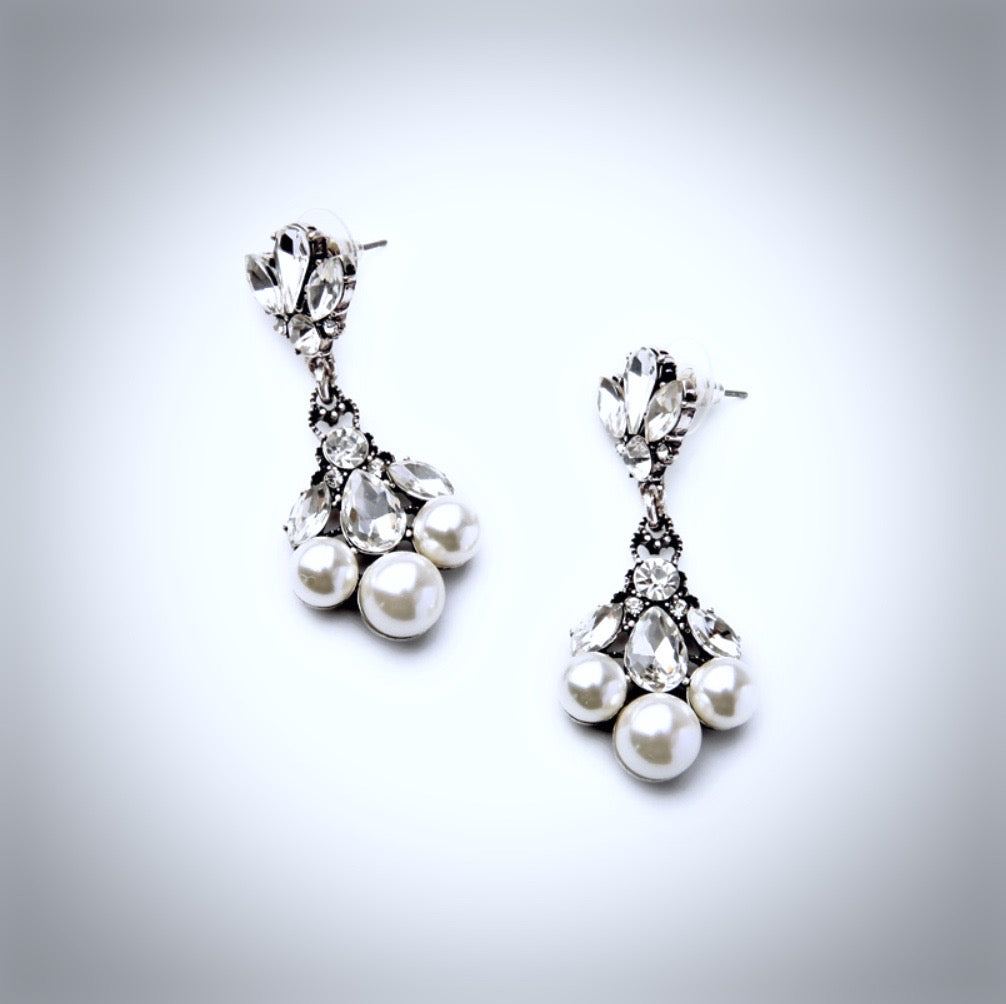 Wedding Jewelry - Vintage Pearl and Rhinestone Bridal Earrings