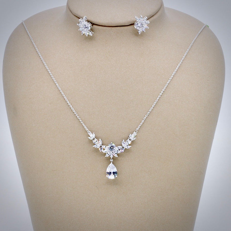 Wedding Jewelry and Accessories - Silver Cubic Zirconia 3-Piece Bridal Jewelry Set With Tiara
