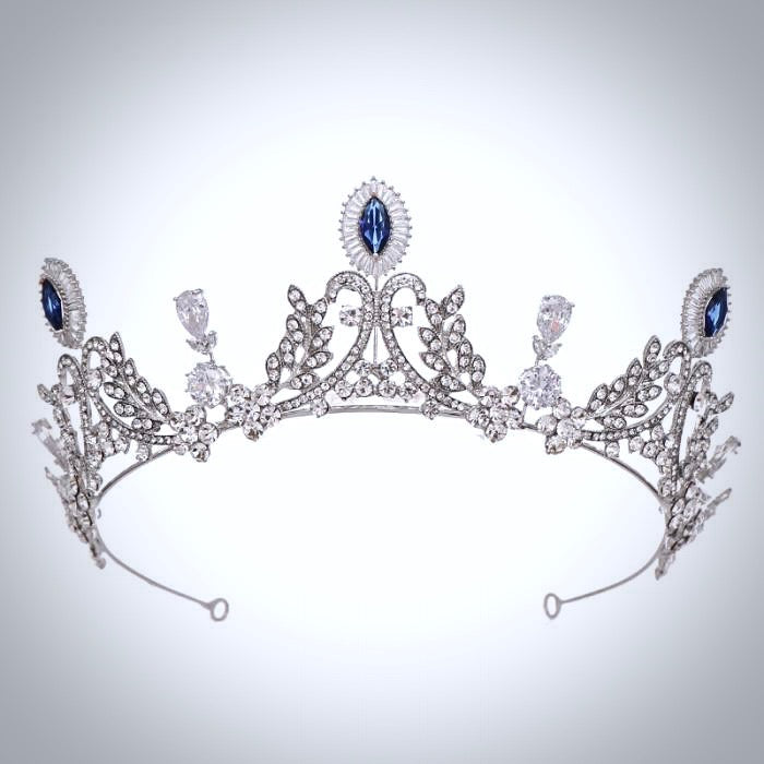 Wedding Hair Accessories - Blue Cubic Zirconia Bridal Tiara