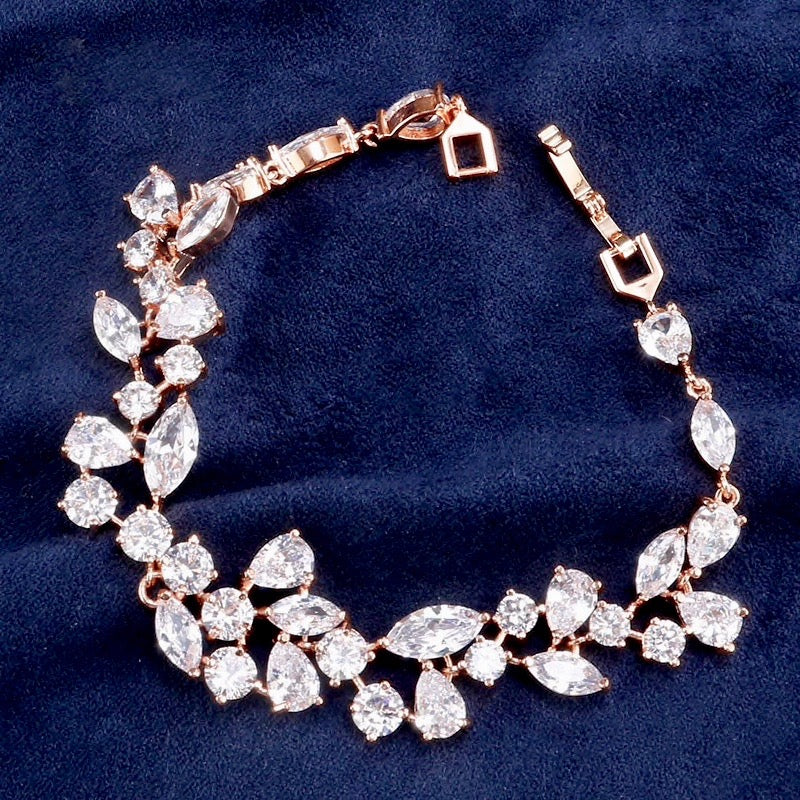 Wedding Jewelry - Cubic Zirconia Bridal Bracelet - Available in Silver, Rose Gold and Yellow Gold