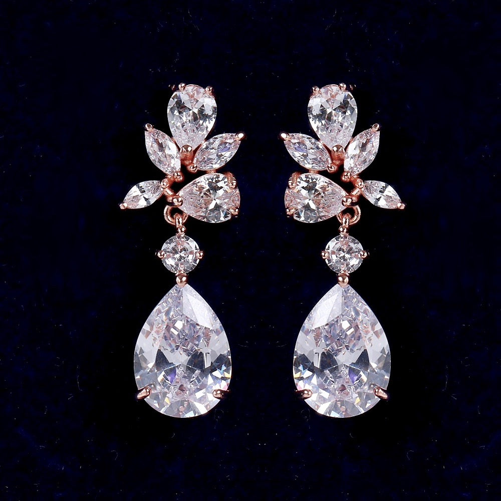 Wedding Jewelry - Cubic Zirconia Bridal Earrings - Available in Silver, Rose Gold and Yellow Gold