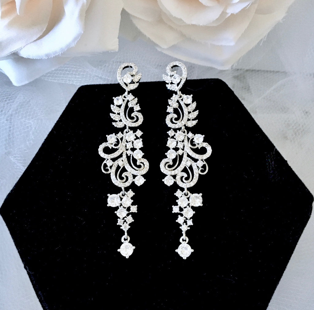 Wedding Jewelry - Silver Cubic Zirconia Bridal Earrings  Edit alt text
