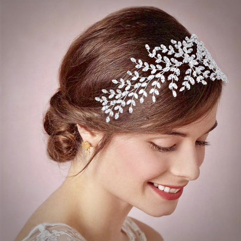 Wedding Hair Accessories - Silver Cubic Zirconia Bridal Headband