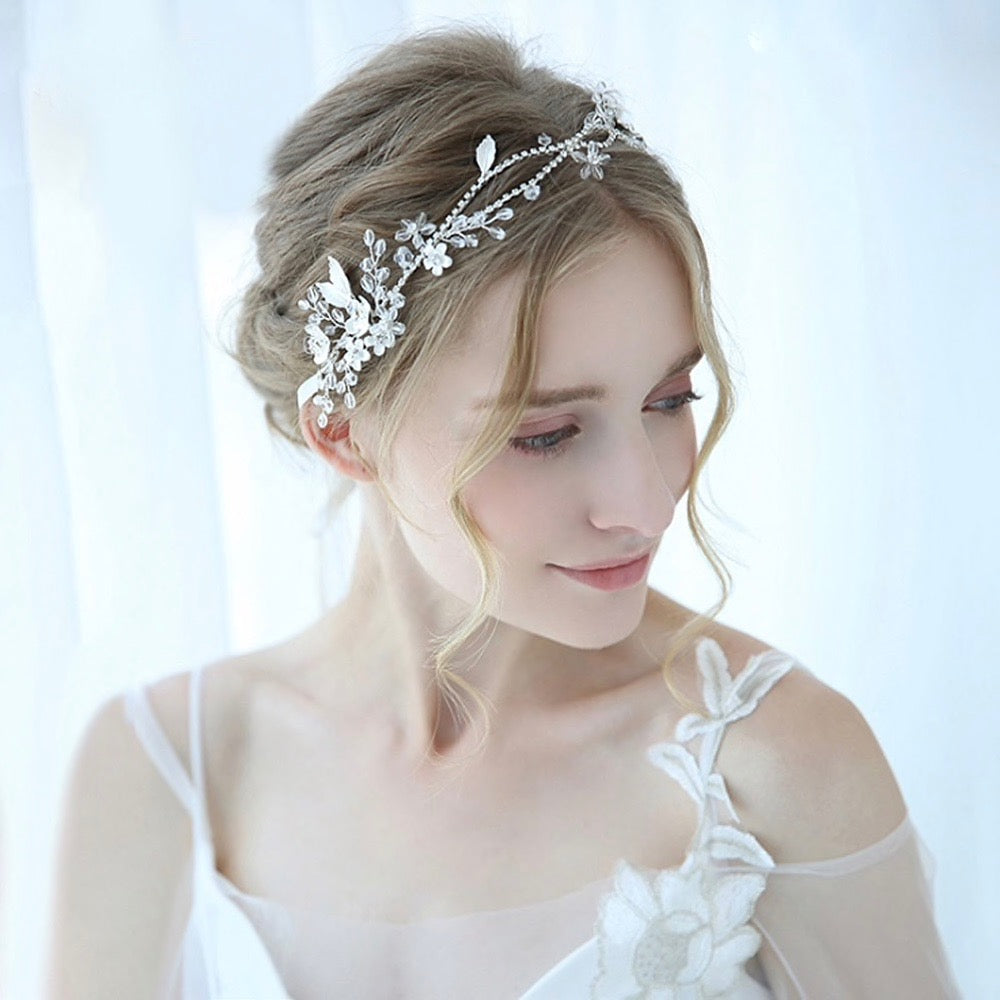 Wedding Hair Accessories - Silver Bridal Headband / Hair Vine