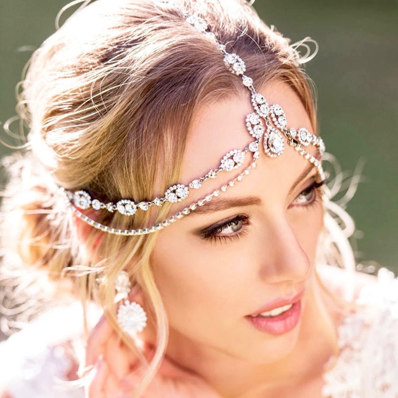 Wedding Hair Accessories - Crystal Bridal Forehead Accessory - Available in Silver and Gold