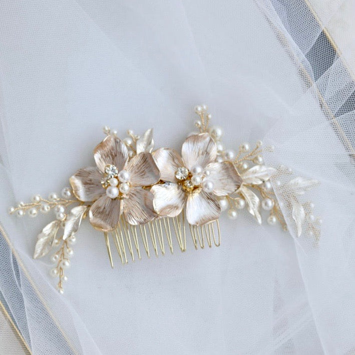 Wedding Hair Accessories - Pearl Gold Bridal Hair Comb