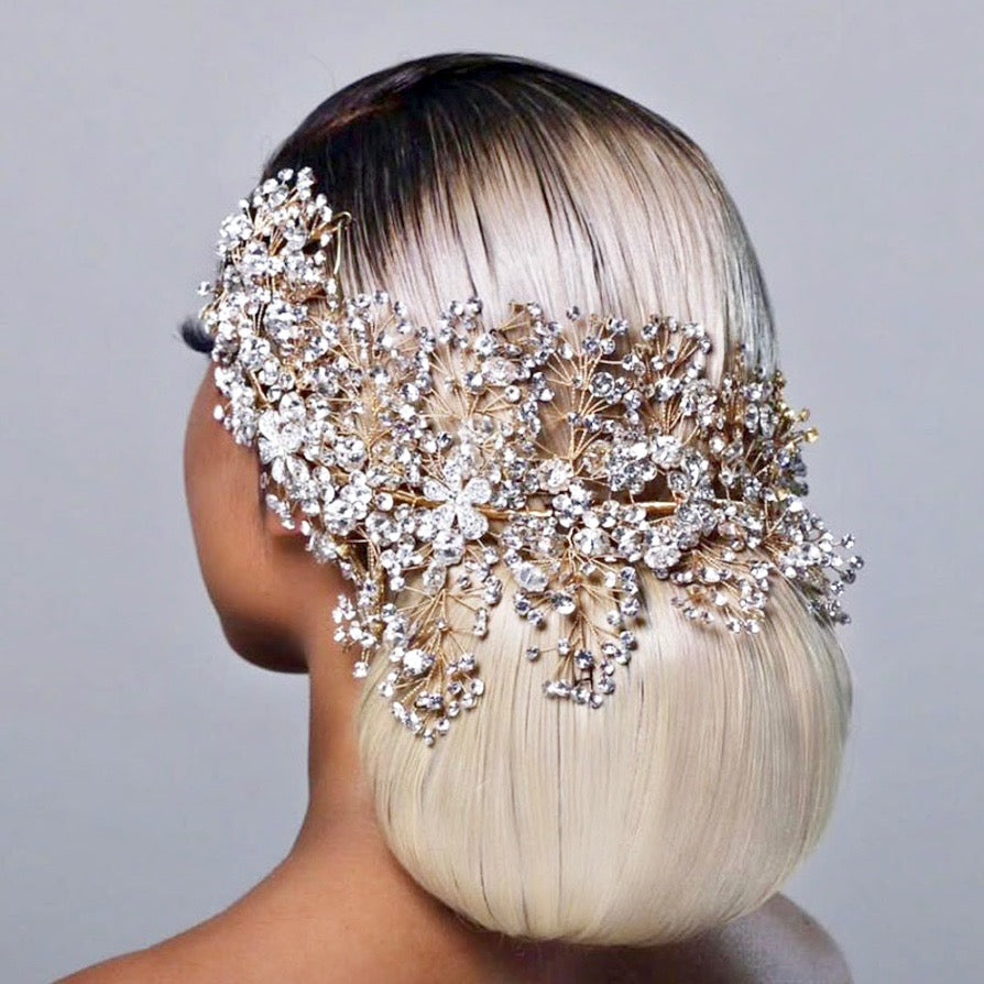 Wedding Hair Accessories - Crystal Bridal Headdress - Available in Gold and Silver