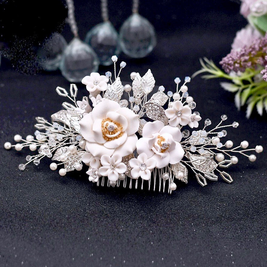 Wedding Hair Accessories - Ceramic Flower Bridal Hair Comb