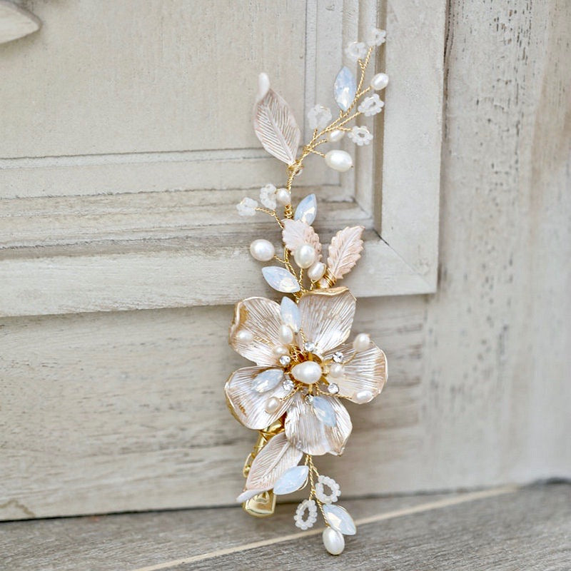 Wedding Hair Accessories - Swarovski Pearl and Opal Bridal Hair Clip