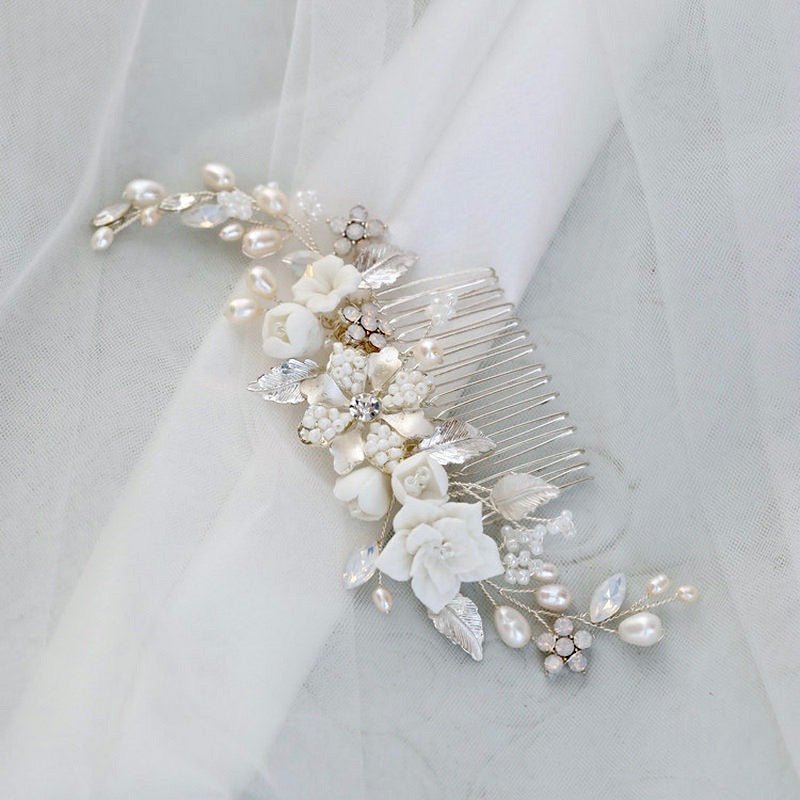 Wedding Hair Accessories -  Swarovski Pearl and Opal Bridal Hair Comb