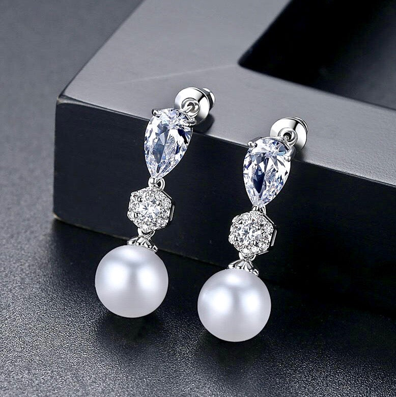 Wedding Pearl Jewelry - Pearl and Cubic Zirconia Bridal Earrings