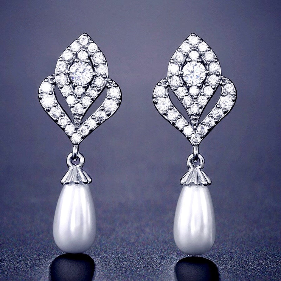 Wedding Jewelry - Pearl and Cubic Zirconia Bridal Earrings