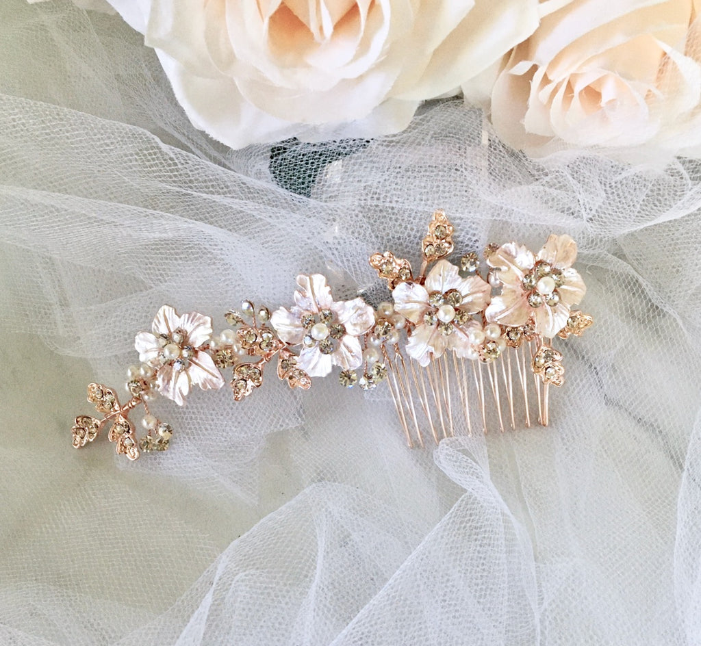 Wedding Hair Accessories - Pearl Bridal Hair Comb - Available in Silver, Yellow Gold and Rose Gold