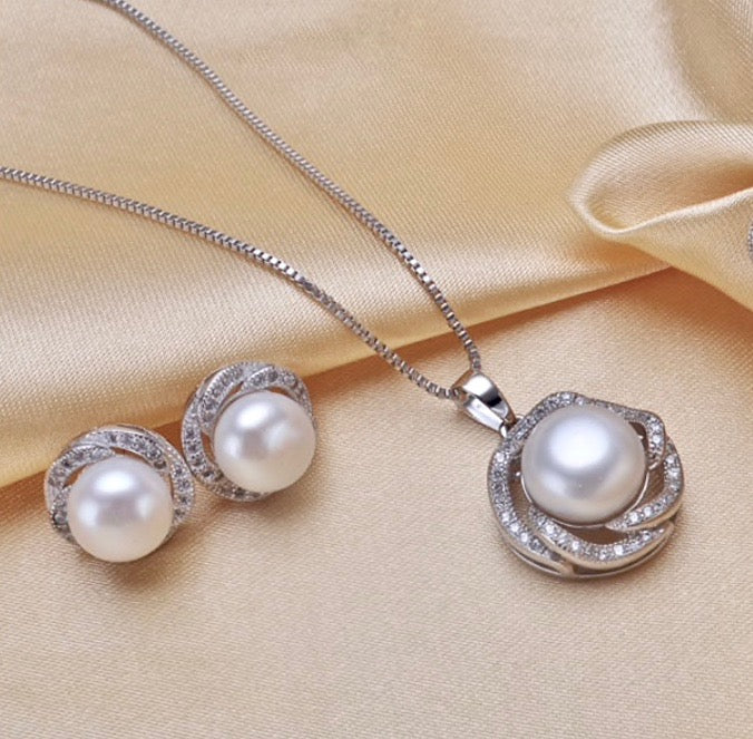Pearl Wedding Jewelry - Sterling Silver Pearl and Cubic Zirconia Bridal Jewelry Set