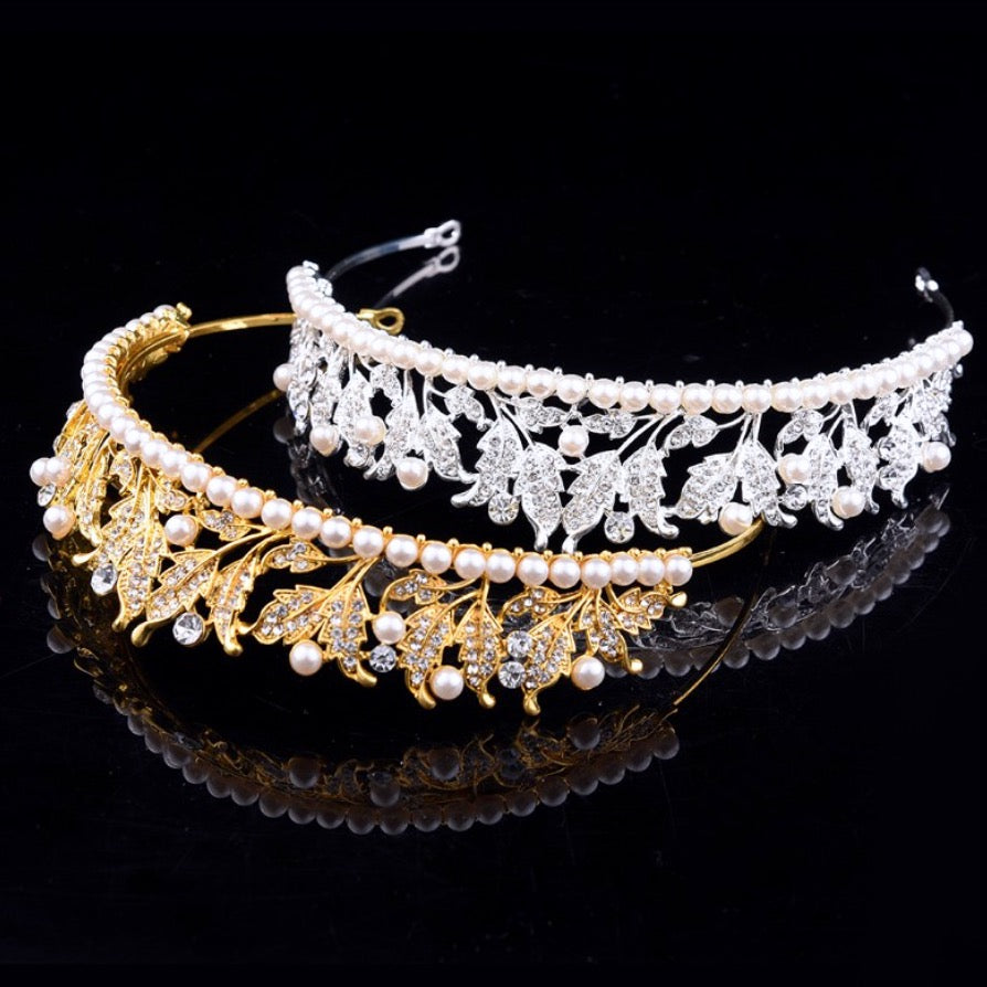 Wedding Hair Accessories - Pearl and Cubic Zirconia Bridal Tiara - Available in Silver and Yellow Gold