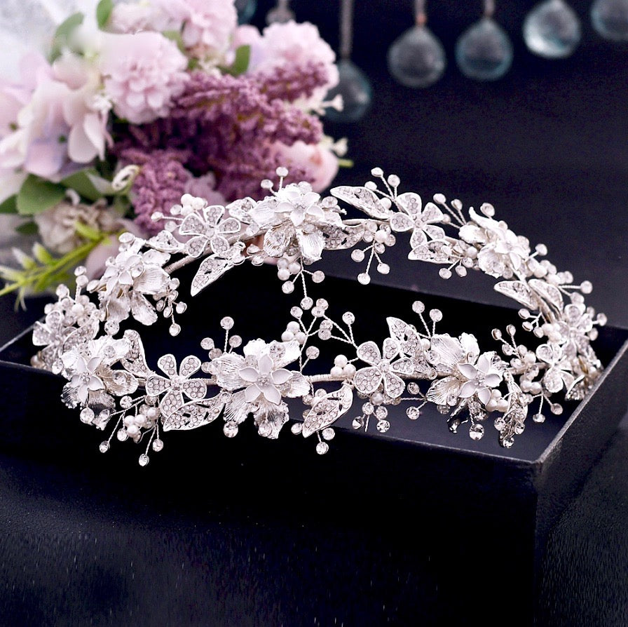 Wedding Hair Accessories - Silver Pearl and Crystal Bridal Double Headband/Vine