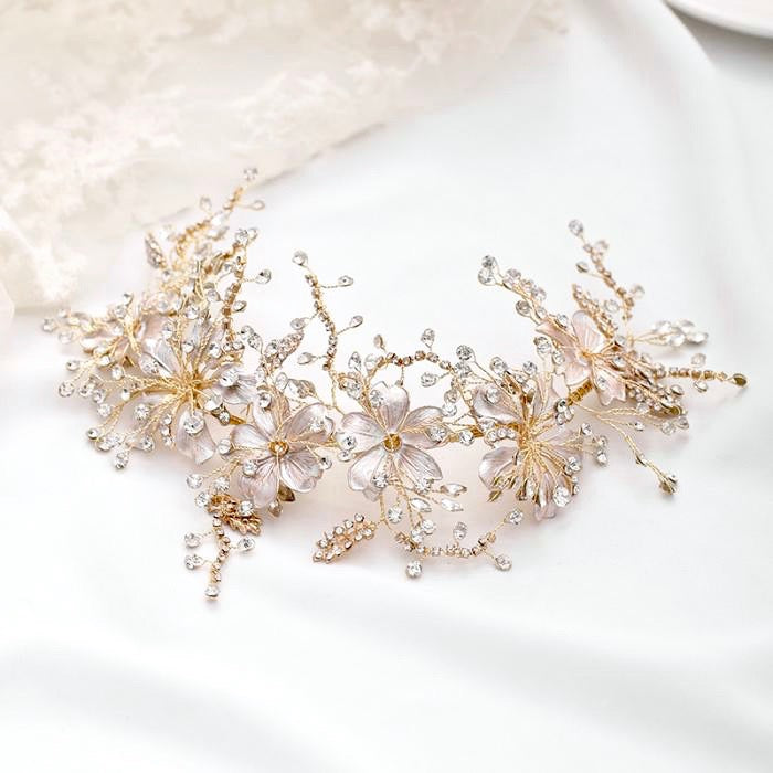 Wedding Hair Accessories - Pearl and Crystal Bridal Headband - Available in Gold and S