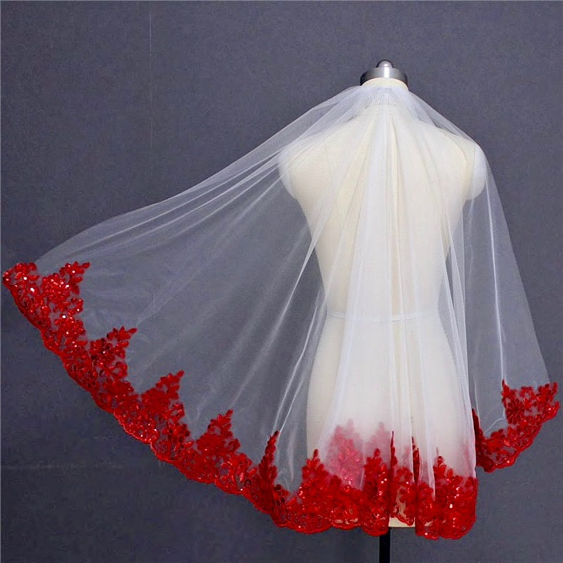 Wedding Veils - Red Lace Fingertip Length Bridal Veil