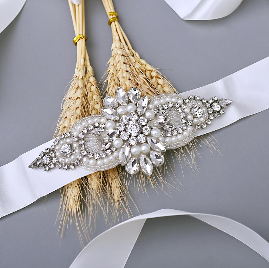 Wedding Accessories - Pearl and Crystal Bridal Belt/Sash - Available in Silver and Rose Gold