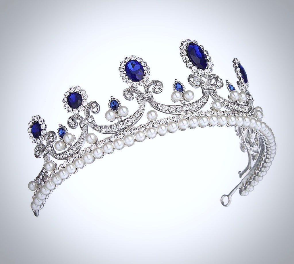 Wedding Hair Accessories - Blue Crystal and Pearl Bridal Tiara