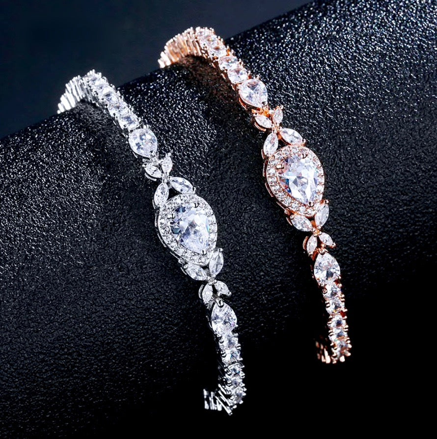 Wedding Jewelry - Cubic Zirconia Bridal Bracelet - Available in Rose Gold and Silver