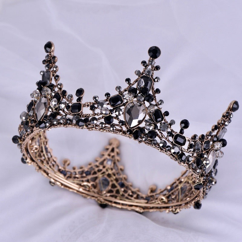 Wedding Hair Accessories - Victorian Gothic Black Bridal Crown Tiara