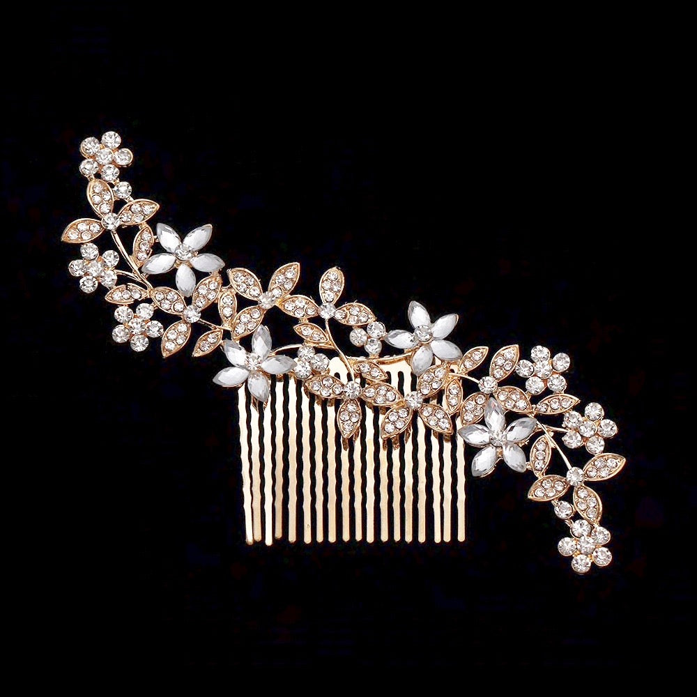 Wedding Hair Accessories - Austrian Crystal Hair Comb - Available in Rose Gold, Silver and Yellow Gold