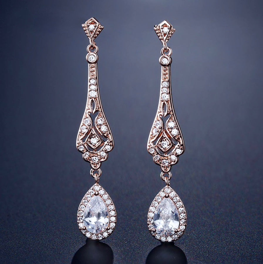 Wedding Jewelry - Cubic Zirconia Bridal Earrings - Available in Silver and Rose Gold