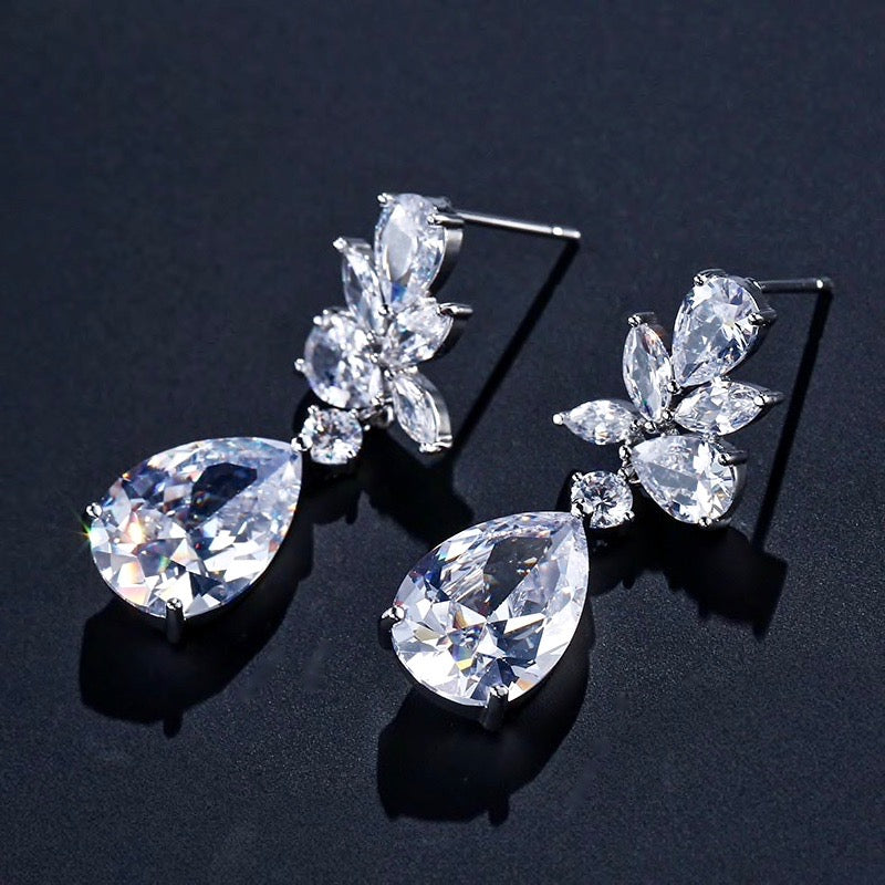Wedding Jewelry - Silver Cubic Zirconia Bridal Earrings