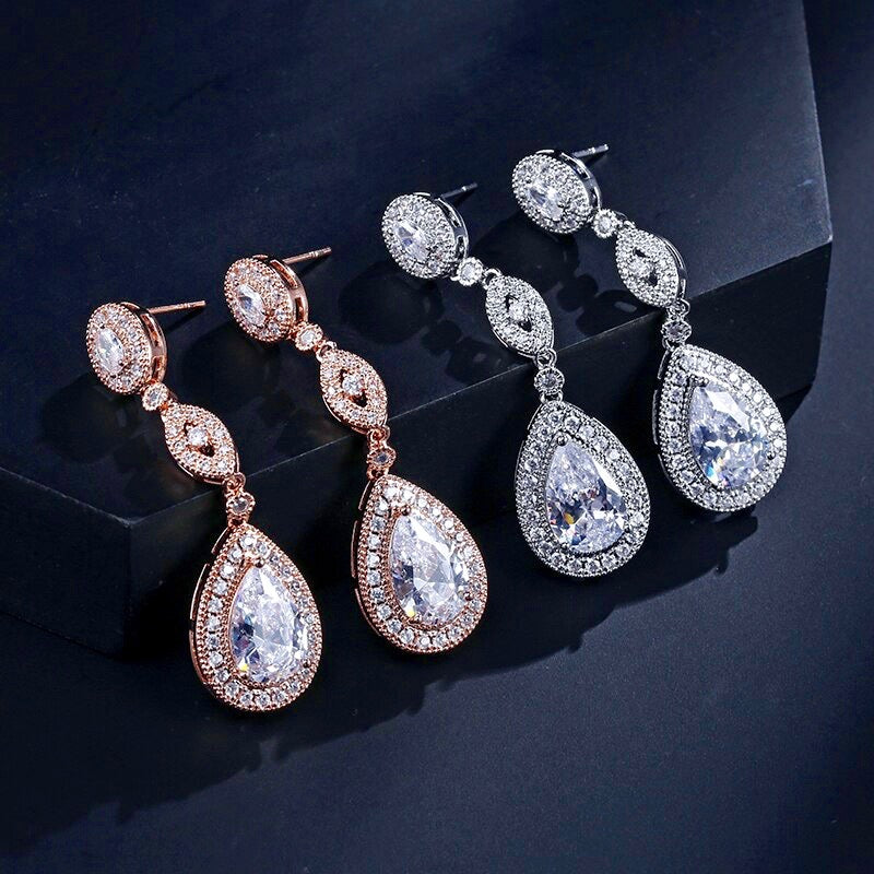 Wedding Jewelry - Silver Cubic Zirconia Bridal Earrings - Available in Silver and Rose Gold
