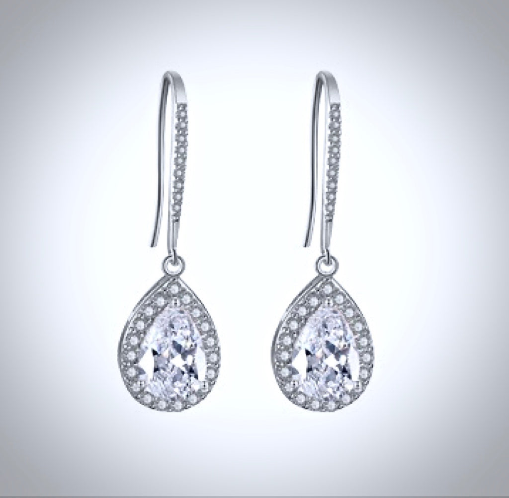 Wedding Jewelry - Cubic Zirconia Bridal Drop Earrings - Available in Silver and Rose Gold