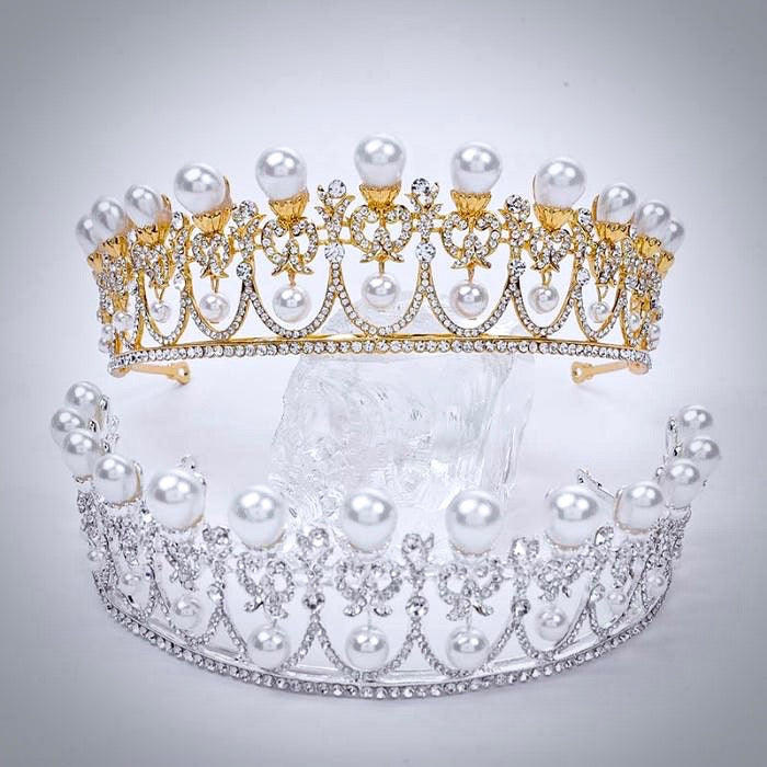 Wedding Hair Accessories -  Pearl and Crystal Bridal Tiara - Available in Yellow Gold and Silver