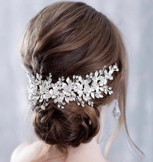 Wedding Hair Accessories - Silver Crystal Bridal Hair Vine/Headband