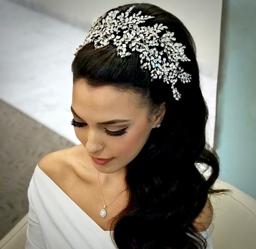 Wedding Hair Accessories - Crystal Bridal Hair Vine - Available in Silver and Yellow Gold