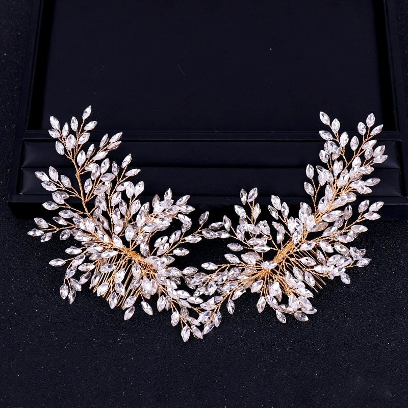 Wedding Hair Accessories - Bridal Rhinestone Double Hair Comb