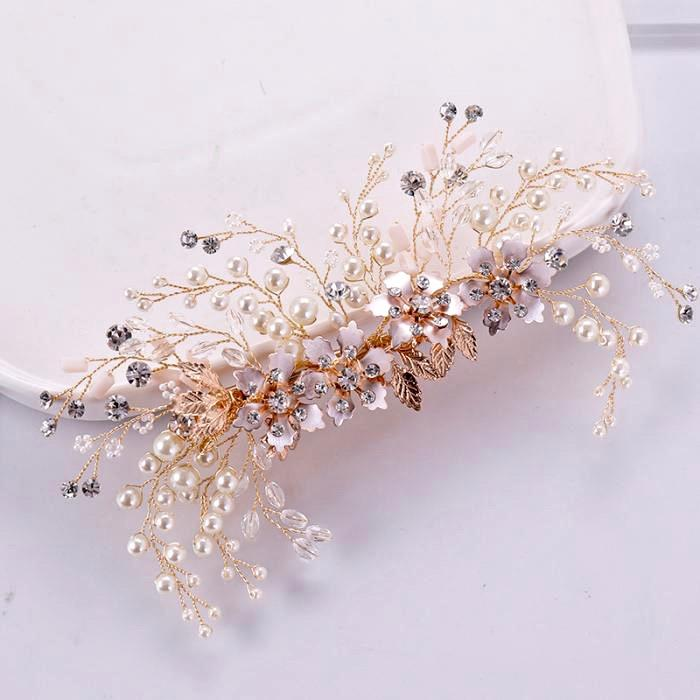 Wedding Hair Accessories -  Rose Gold Pearl and Crystal Bridal Hair Clip