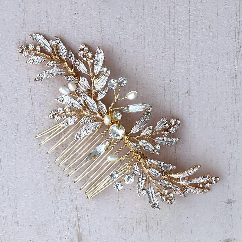 """Daphne"" - Gold Pearl and Crystal Bridal Hair Comb"