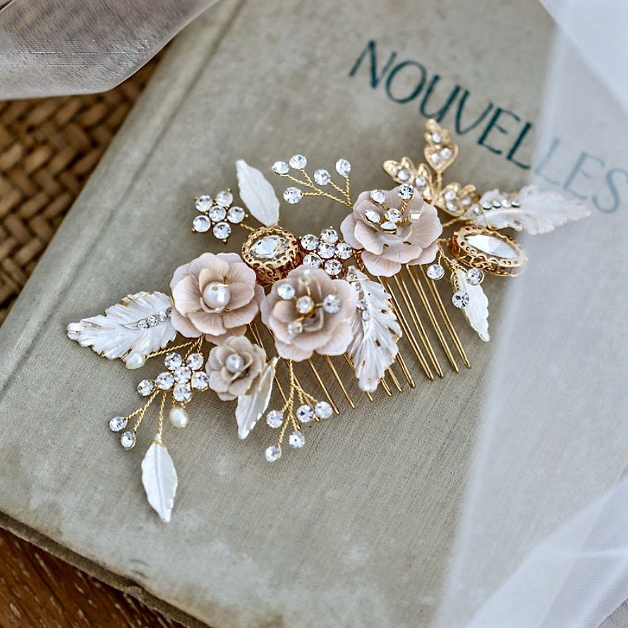 Wedding Hair Accessories - Bohemian Gold Bridal Hair Comb