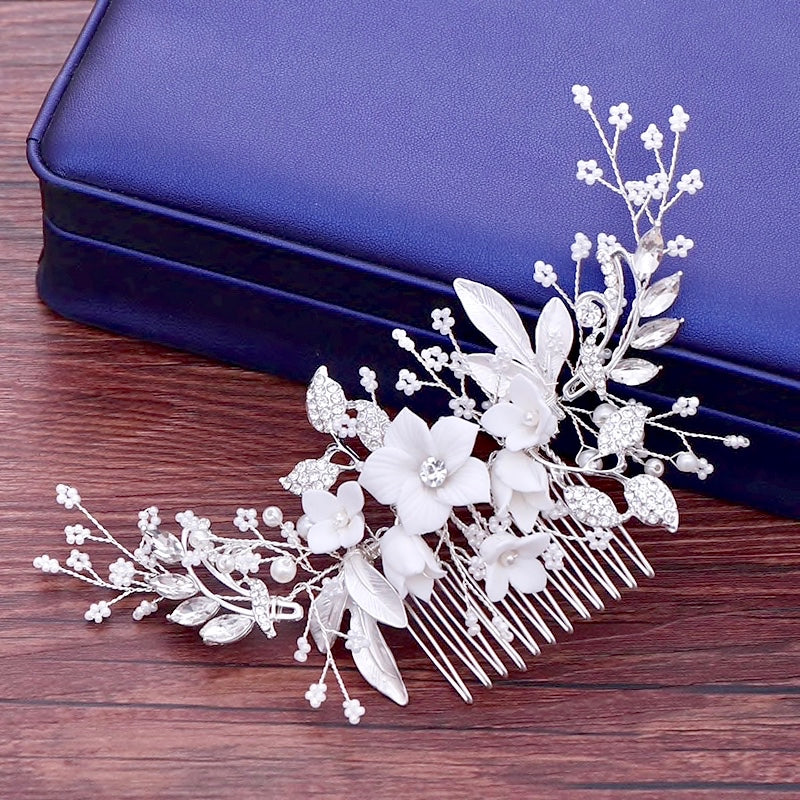 Wedding Hair Accessories - Silver Pearl and Crystal Bridal Hair Comb