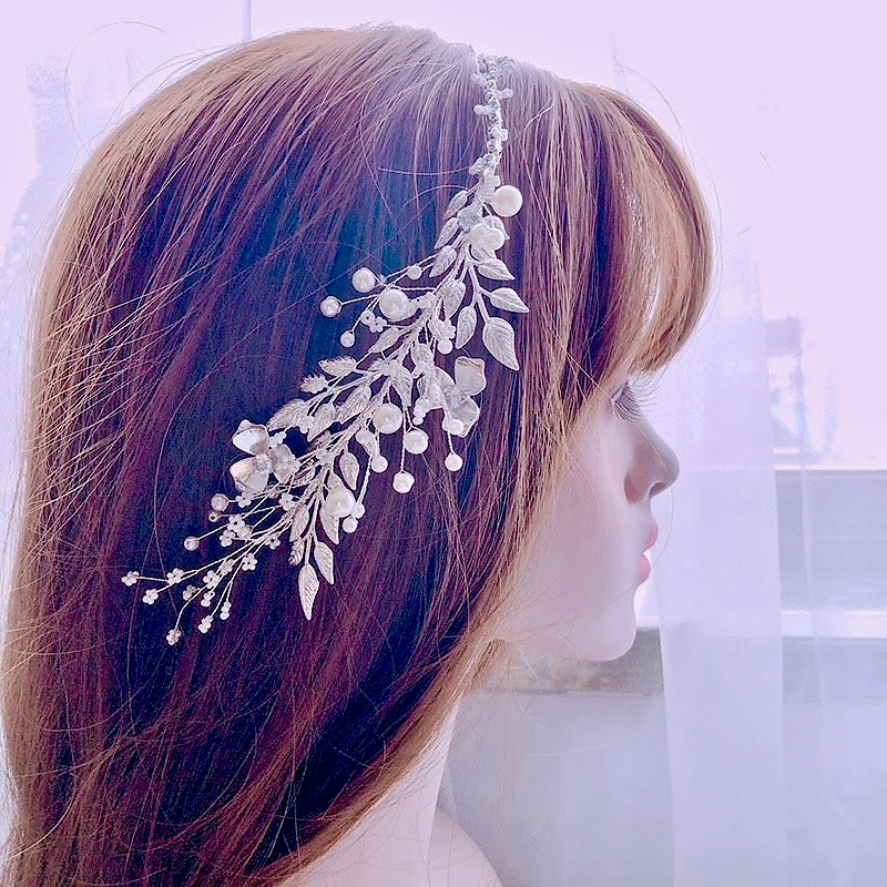 Wedding Hair Accessories - Silver Pearl and Crystal Bridal Headband/Vine