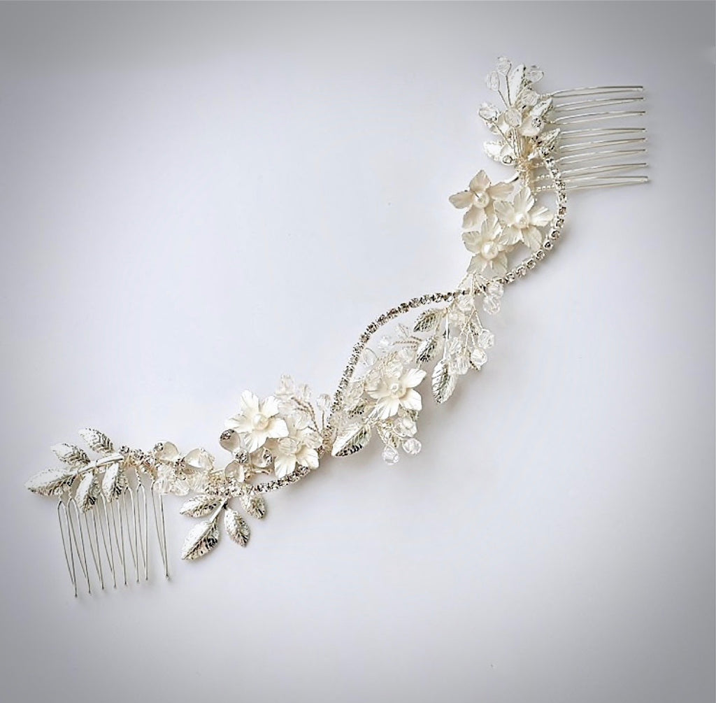 Wedding Hair Accessories - Silver Pearl and Crystal Bridal Hair Vine